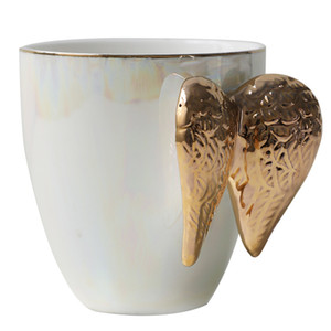 Luxury Ceramic Cup With Angel Wings Handle Gold Plated Creative Cup Coffee Breakfast Milk Drink Tea Mug Great Gift for lover pc