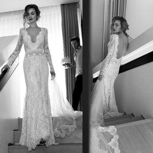Sexy Backless Lace Mermaid Wedding Dresses Deep V Neck Country Beach Bridal Gowns Illusion Long Sleeve Vestidos de Novia 2021 Bride Dress