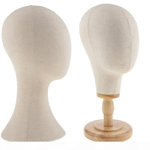 2x 21'' 22'' Hair Wigs Extension Making Hats Caps Display Canvas Cork Block Mannequin Head Model + Detachable Wood Stand