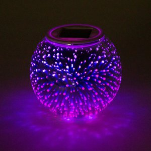 2021 New Glass 3d Led Solar Firework Change Proof Color Dwaterproof Table Water Lamp Garden Party Quarter Ball Light Mj8q