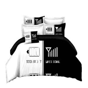 blackwhite لها جانبها الجانب مجموعات الفراش ملكة حجم سرير مزدوج 3 قطع السرير الكتان الأزواج حاف تغطية مجموعة 44 v2