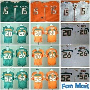 NCAA Miami Kasırgalar Futbol Formaları Koleji 20 Reed 15 Brad Kaaya 26 Sean Taylor 52 Ray Lewis Dikişli Jersey Yeşil Turuncu Beyaz