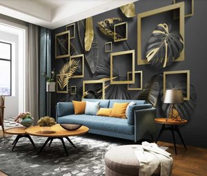 Customized 3D Wallpaper Nordic Modern Simple Golden Leaf Tropical Plant Stereo Geometric Light Luxury Mural