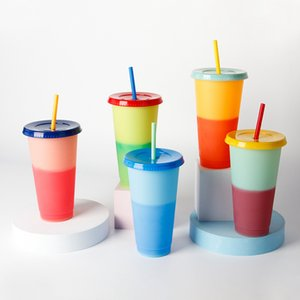 New 16oz Matte Skinny Tumbler Temperature Sensing Change Color Plastic Acrylic Tumblers Coffee Drinking Cup With Flat Lids and Straws LLA382