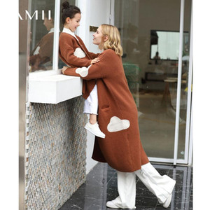 AMII Minimalismo Spring Splice Punto Cardigan Mujeres suelta Cash Causal Knit Coat 11880107