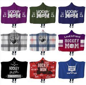 Plush Sherpa Blanket Hockey Hooded blankets Xmas 3D Printed Cape Cloak Fleece Soft Winter Swaddling Bedding Quilt Nap Wraps LXL680AB-1