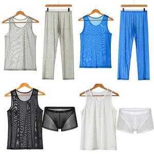 Men Undershirt Sets Sexy Mesh Fishnet Transparent Tank Tops Pants Shorts Underwear Sleepwear Tracksuit Breathable Sportwear Suit