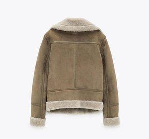 Popular nuevo desgaste de las mujeres espesor cálido invierno retro de gamuza corderos lana chaqueta de motocicleta cinturón ocio suelto hechos por hombre chaquetas