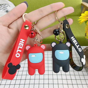 Car Key Ring Keychains Among Us Action Figures Strap Bell PVC Doll Toys Gifts Pendant Key Chain Accessories Cute Cartoon Bag Charms Keyring
