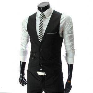New Dress Vests for Men Slims Fit Mens Suit Vest Male Waistcoat Gilet Homme Casual Sleeveless Formal Business Jacket Vests