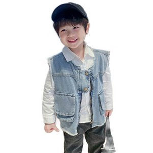 Boys Waistcoat Kids Vest Denim Baby Coat Fashion Loose Outwear Spring Summer Children Clothes SM054