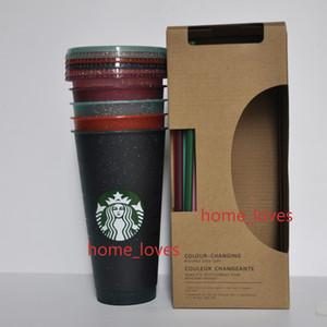 Nuevo 24 oz / 710ml Starbucks Lentejuelas de plástico Vacador de plástico Reutilizable Clear Bebida plana taza de pilar Forma de pilar Taza de paja amor