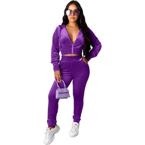 Women's Tracksuits Two Piece Set Women Festival Clothing Long Sleeve Hooded Crop Top And Elastic Waist Long Pants Velour Tracksuits Women