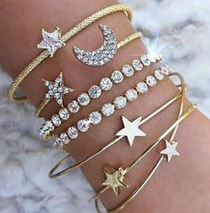 New Fashion 4 Pcs set Gold and Silver Five-pointed Star Moon Heart Bracelet Crystal Women's Popular ps0229