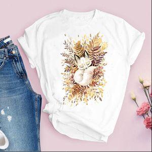 Women Graphic Short Sleeve Fox Cartoon Printing Fashion Cute Printed Tops Lady Tees Clothing Female T Shirt Womens T Shirt