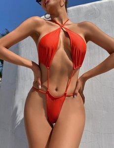 2021 YiiGiovy Moda Swimsuits de baño Lace Up Monokini Mujeres Sexy One Piece Bikini Color Sólido Cross Vendaje Backless Color de V-Bañador