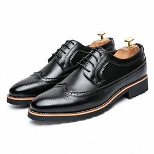 Nuevo 2017 Punta de Toe Vestido de negocios Hombres Zapatos formales Moda de boda Zapatos de cuero genuinos Pisos Oxford para hombres * 987 L0CK #