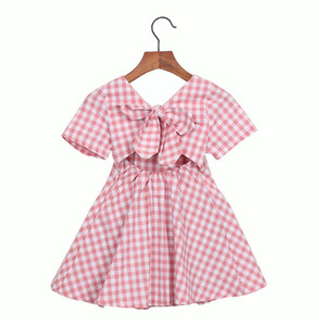 wholesale newest korean ins fashions Girls plaid dress short sleeve cute children straps summer kids princess dress
