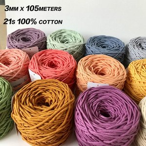 3mm Macrame Cord Yarn 100% Cotton Braided Rope Waving Twisted-Cord For DIY Crafts Knot Handbags Wall Hanging Plant Hanger Pillow