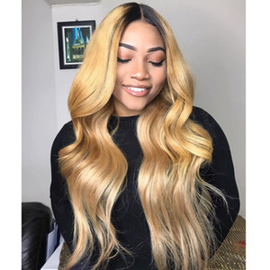 Ombre Honey Blonde Color 1B 27 Thick Glueless Full Lace Human Hair Wigs Brazilian Body Wavy Lace Front Wig