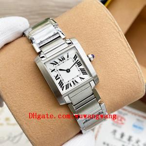 2020 Hohe qualität Klassische Tank Francaise Quarz Uhren Joker Damen 316L Edelstahl Armbanduhren Square Womens Watch 20 * 25mm D3156