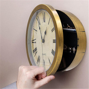 Wall Clock Safe Box Creative Retro Hidden Secret Storage Box for Cash Money Jewelry Home Office Personality Clock Style Safes