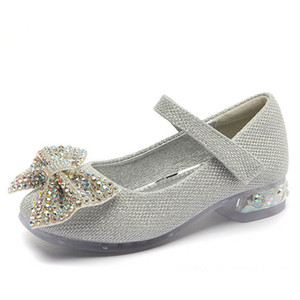 Girls Shoes Kids Shoes Crystal Bowknot High-Heeled Shoes Princess Children Dress Shoe Spring Autumn Girls Footwear B4071