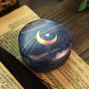 Tinplate Jar Retro Round Empty Candy Gift Box Moon star Small Candle Jar Tin Can Drum Shape Metal Cute Home Decor Storage Container