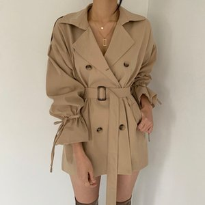 2021 Autumn new design women's korean fashion double breasted sashes with belt casual trench coat SML