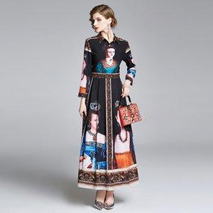 2021 새로운 패션 활주로 여왕 맥시 여성 손목 슬리브 높은 허리 빈티지 편지 스트라이프 인쇄 여성 긴 Dres 0z7g