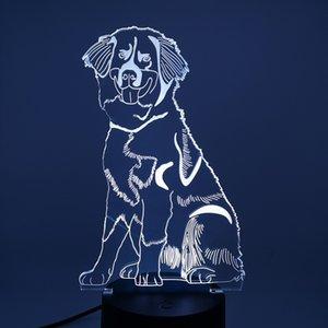 Creative 3D Night Lights Acrylic Настольный светодиодный ночник с RGB Цветного отдыха Подарок Декоративная Бернская горная Спальня Спальня