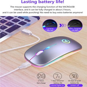 Mice Mini 1600DPI USB Optical Wireless Mouse 2.4G Receiver Super Slim Rechargeable With Light For Home Office Desktop PC Laptop