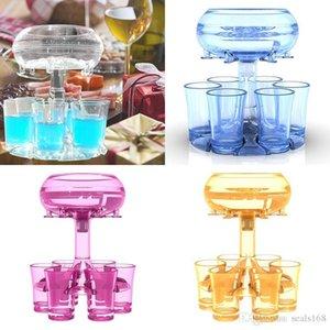 새로운 6 샷 유리 디스펜서 및 홀더 6 투명한 와인 안경 Pourer 바 도구 와인 안경 파티 용품 HH21-137