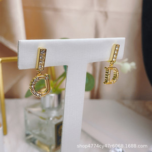 d Family Cd Letter Asymmetric Diamond Versatile Feminine Fashion Design Earrings Net Red Same Stylecauk