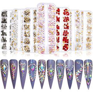 12 Сетка Super Shining Многоразмерный Кристалл AB Ногтя Гробные камни Сверла Различные формы 3D Ногтей Арт Украшения Аксессуары