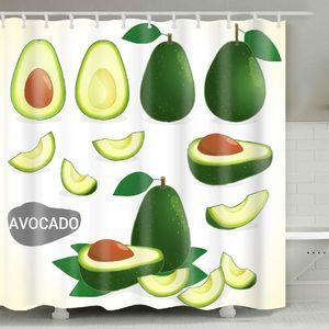 Avocado Shower Curtain 180*180cm Summer Avocado Printed Adult Bathroom Shower Curtain Cute Cartoon Avocados Bathroom OWA3963