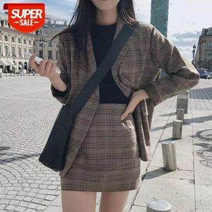 women 2 Pieces Skirt Suit Female Office Ladies Blazer Suit 2020 Retro Plaid Set Single-breasted Jacket Pencil Skirts #DR6G