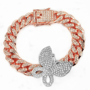 Design Fashion Iced New Out Bling Women Jewelry Zircon Cuban Link Chain Butterfly Charm Anklet Bracelet