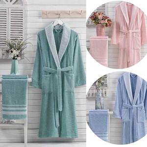100% de peignoir de coton et serviettes de serviette longue épaisse épaisse pour femme baignoire douce relax relaxe robe de demoiselle d'honneur robes absorbant la vinaigrette absorbante