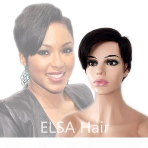 Short pixie Straight Peruvian Lace Front Side Part Human Hair Wigs For Women Remy Hair Wig With Baby Hair Natural Hairline