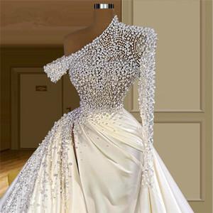 Pearls Robe De Mariee Wedding Dress Chic Newest Custom Beading Long Sleeves Dubai Arabic Bride Dresses Vestido De Noiva Bridal Gowns