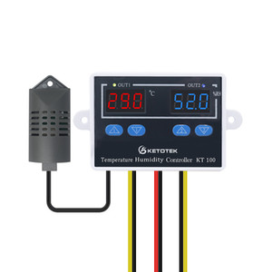 230V AC KT100 Digital Thermostat Hygrostat Direct Output Temperature Humidity Controller Switch Dual Led Display