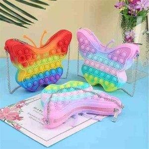 Autumn Back To School Children's Butterfly Bag Push Pioneer Finger Press Bubble Rainbow Makaron Fidget Toy Handbags Crossbody Pack Purse G925EC1