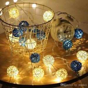 DIY Rattan LED 4m 5cm Rope Lights Christmas Decoration Ornaments Wedding Party Hand Weaved Rattan Ball Lantern String Toy