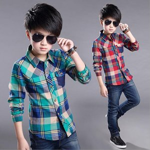 New Spring Cotton Kids Clothes Fashion Casual Handsome Shirt for Children blouses Boys Plaid Long Sleeve dress Shirts 210305
