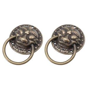 Handles & Pulls 2pcs Retro Door Knob Chinese Style Cabinet Handle Antique Copper Ring