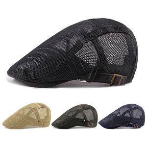 Новые Летние Мужские Шляпы Дышащая сетка Новости Боевые Шапки Весна Открытый Горро Hombre Boina Golf Hat Мода Сплошная Плоская Шапка Женщины