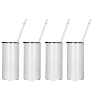 Sublimação Skinny Tumbler 15oz Tall Alto Slim Capered Tumblers Branco Vácuo em branco Copo de água isolado para transferência de calor SES envio WWA155