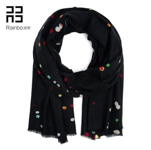 Inner Mongolia new printed wool scarf High-end color wave point scarf wholesale a undertakes1