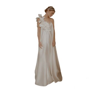 simple white Wedding Dresses V-neck Big flower charmeuse Wedding Gown Sleeveless Hot Sell Sweep Train Custom Made Vestidos De Novia Hot Sell